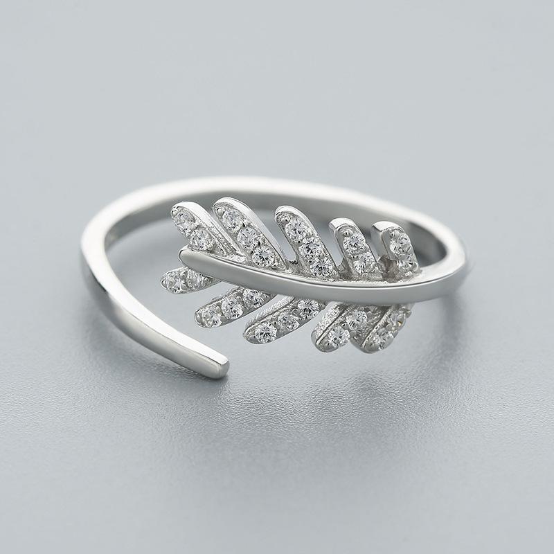 0de6c52d4b3 Agood kadınlar için 925 ayar gümüş yüzük yaprak şekli açık halka saf gümüş  moda takı aksesuarları kızlar için