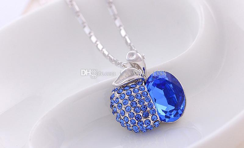 Crystal Apple Necklace Blue Green Diamond Apple Pendant Silver Chain Christmas Eve Jewelry for Women Kids Christmas Gift