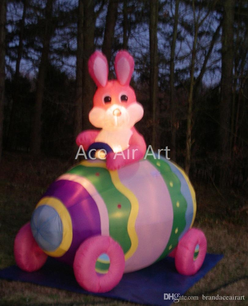 Portable and easy set up drive the egg car inflatable happy easter rabbit for easter decoration
