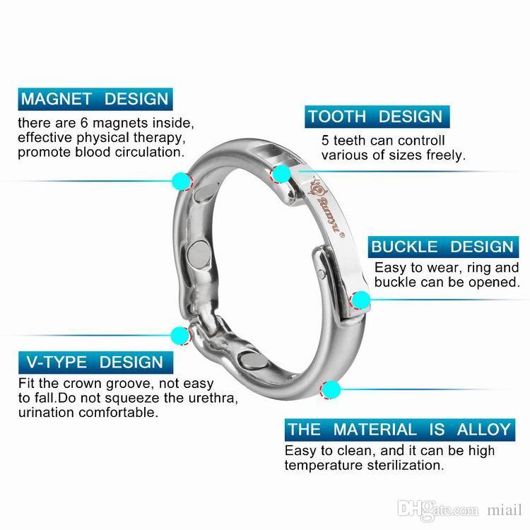 4 Tamaño Ajustable Tamaño Anillos de Pene Para Hombre Fisioterapia Magnética de Metal Tipo V Circuncisión Erección Cock Ring Juguetes Sexuales para hombres