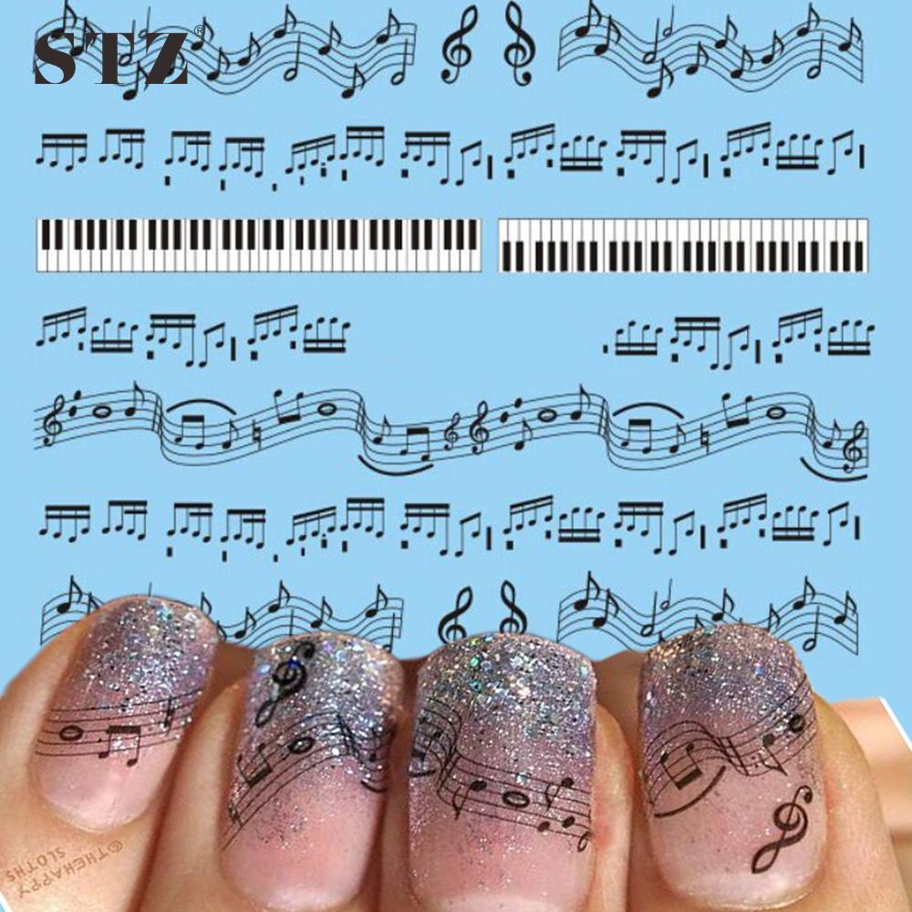 Wholesale Stz 1 Sheets Hot Nail Designs Black Music Note Printing ...