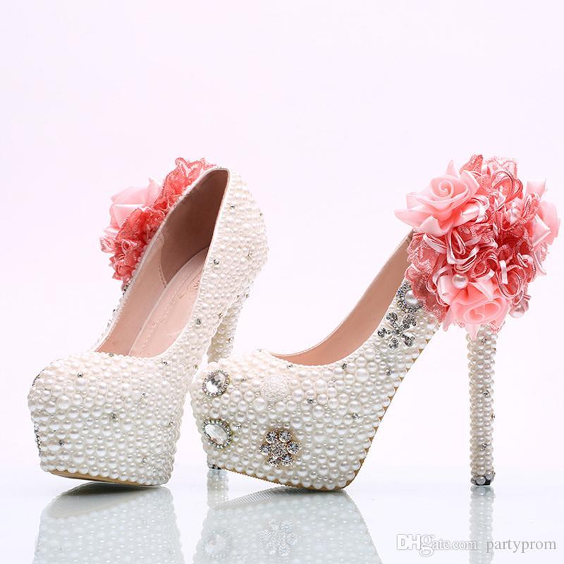 Pembe Inci ile beyaz Inci Düğün Ayakkabı Gelin Yüksek Topuk Ayakkabı El Sanatları Kadınlar Partisi Balo Ayakkabı Artı Boyutu 11 ve 12