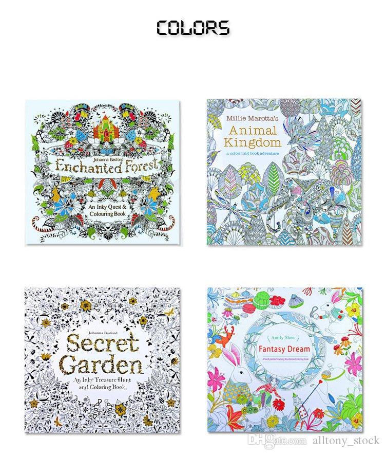 New Coloring Books 4 Designs Secret Garden Animal Kingdom Fantasy Dream Enchanted Forest 24 Pages Kids Adult Painting Colouring In Book