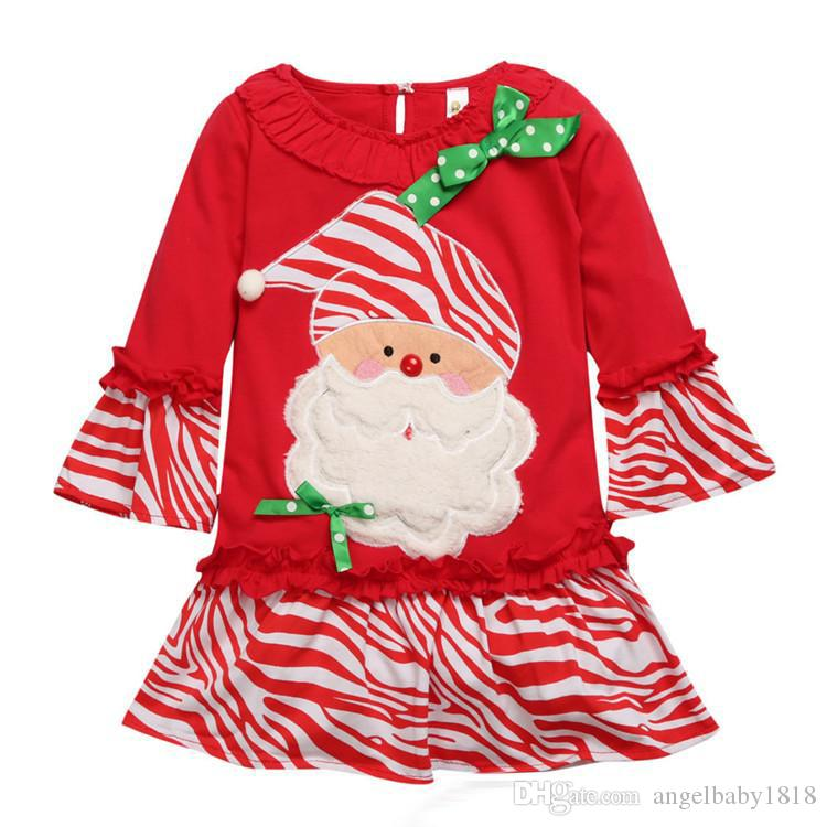 2017 New Christmas Girls Santa Claus Outfits Pleated Hem Dresses Stripes Pants Baby Girl Clothing Sets Xmas Pajamas