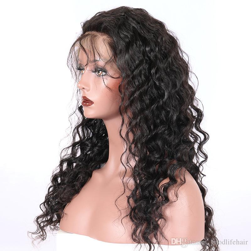 hot selling ladies wigs long length loose wave high density 180 human hair lace front wig natural hairline