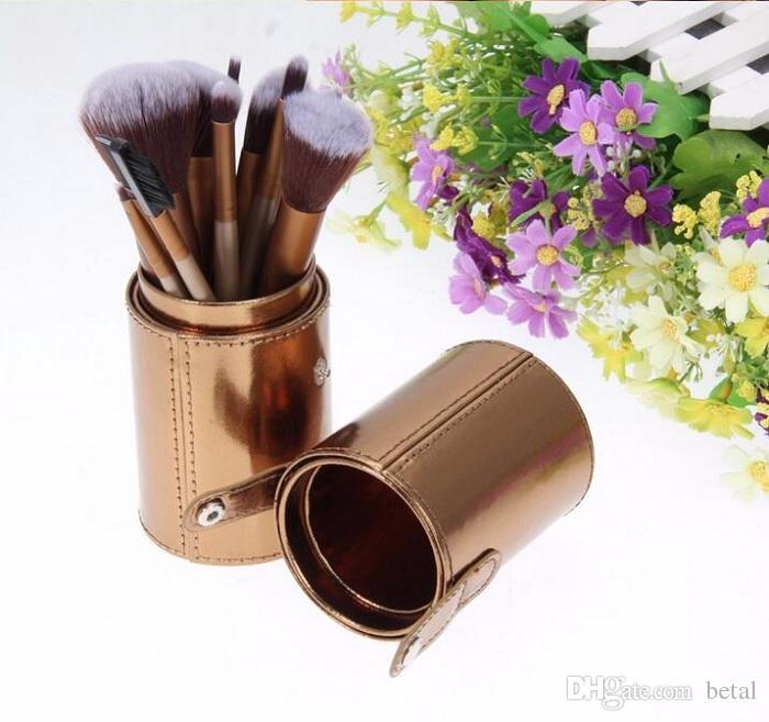 Nuevos pinceles de maquillaje profesional Gold Set de con estuche para portavasos de cuero Kit suave para el cabello