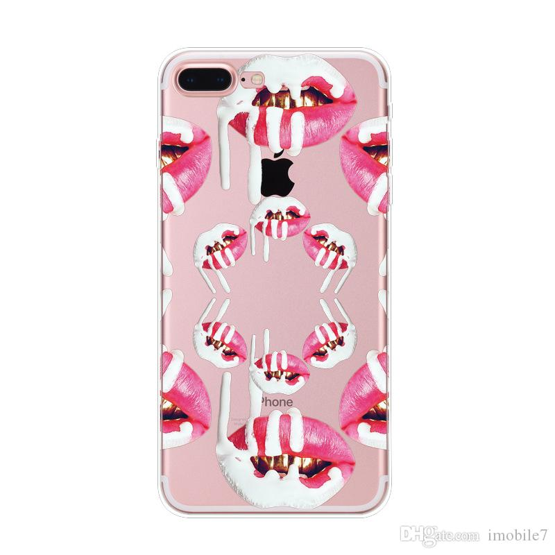 8 estilos Fashion Painted Lips series Funda para teléfono para Apple iPhone 6 funda Soft Tpu Fundas Sexy Red Lips para iPhone 6 6s 7 puls cover