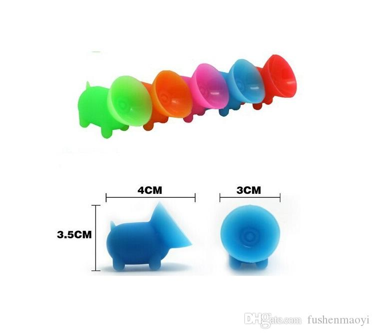 supporto telefono cellulare scrivania in gomma colorata maialino con ventosa staffa universale telefono cellulare apple samsung LG Huawei 100 pezzi / pacco