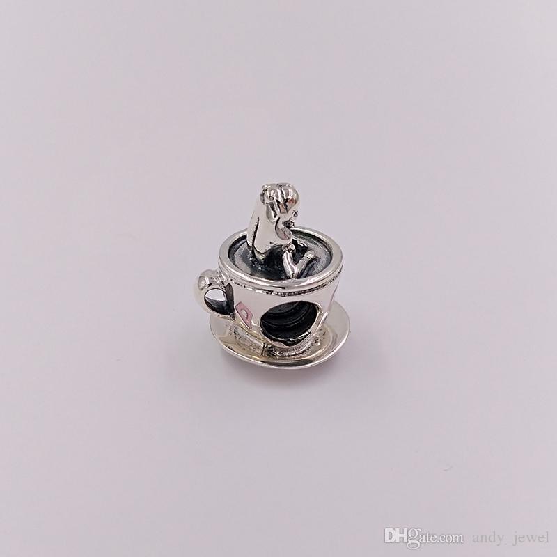 925 cuentas de plata esterlina Alicia en el país de las maravillas TeaCup Fantasyland Charm Charms se adapta a la joyería de estilo de Pandora Europea Collar de pulseras