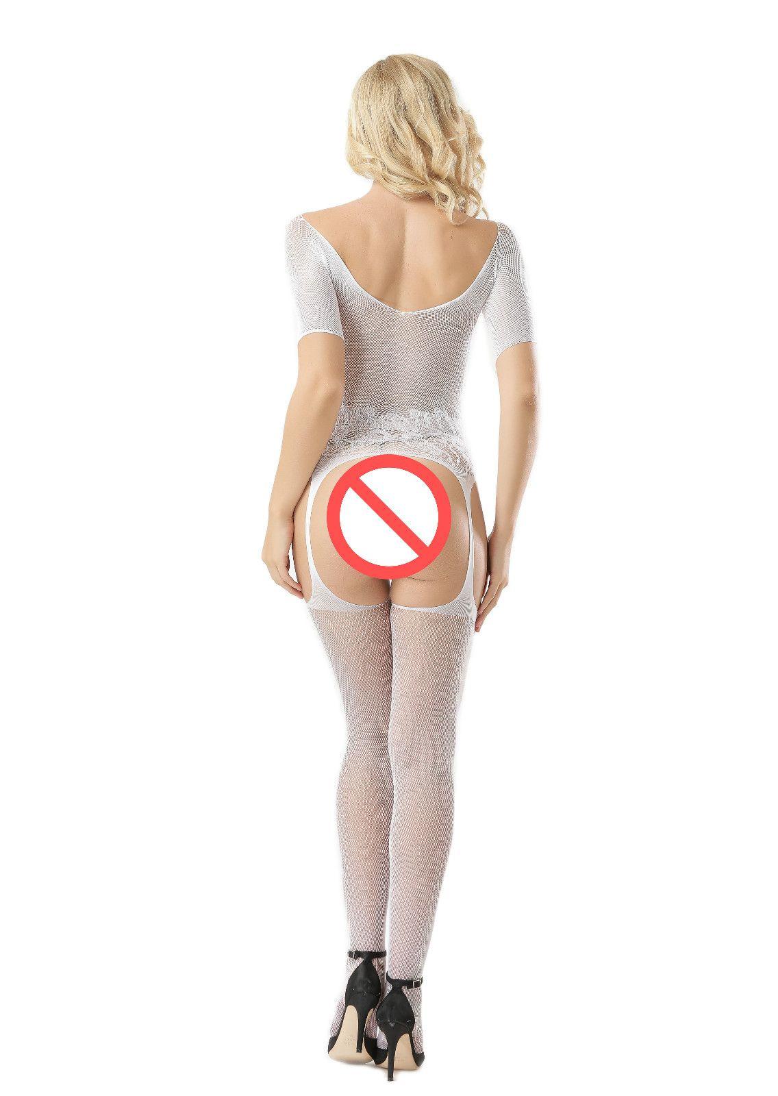 Sıcak Bayanlar File Bodysuit Garters çorap Kısa Kollu Açık Büst Seksi Bodystocking Gecelik Artı boyutu Sıkı İç