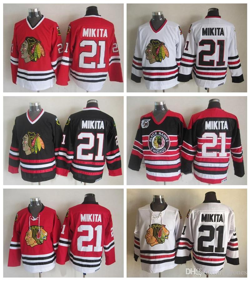 1cf61468e6c 2019 Chicago Blackhawks Stan Mikita Hockey Jerseys 1963 Vintage CCM 21 Stan  Mikita Stitched Jersey Winter Classic Red 75th Patch From Tryones