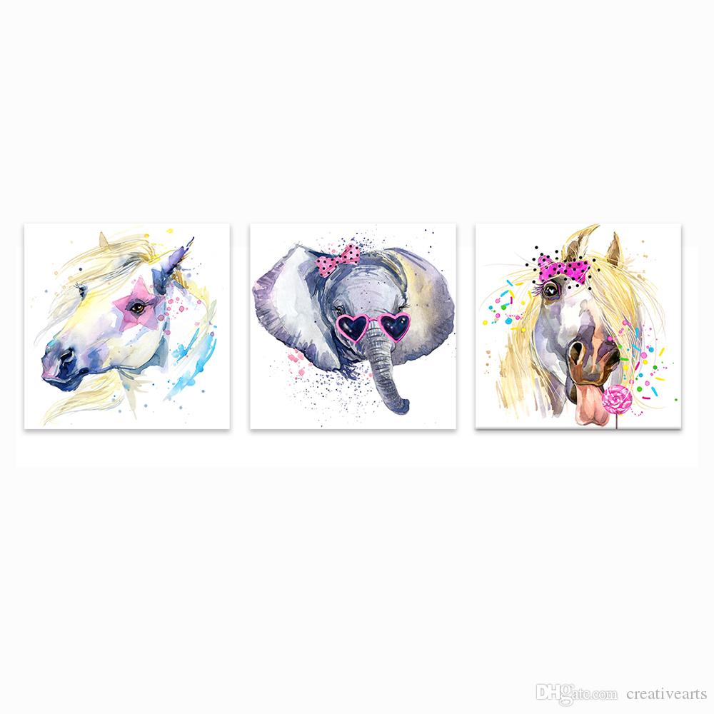 Satın Al Fil Ve Pony Boyama Sevimli Hayvan Boyama Baskılar çocuklar
