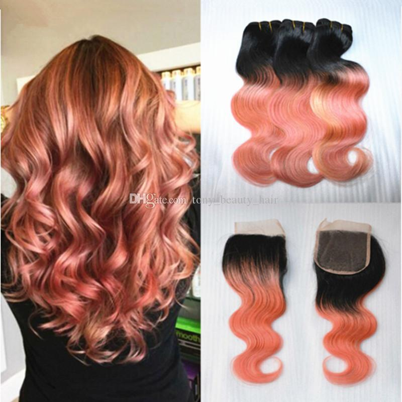 Ombre 1B Rose Gold Two Tone Brazilian Virgin Hair Body Wave Lace Closure Bleached Knots With Pink Ombre Human Hair Bundles 4Pcs Lot