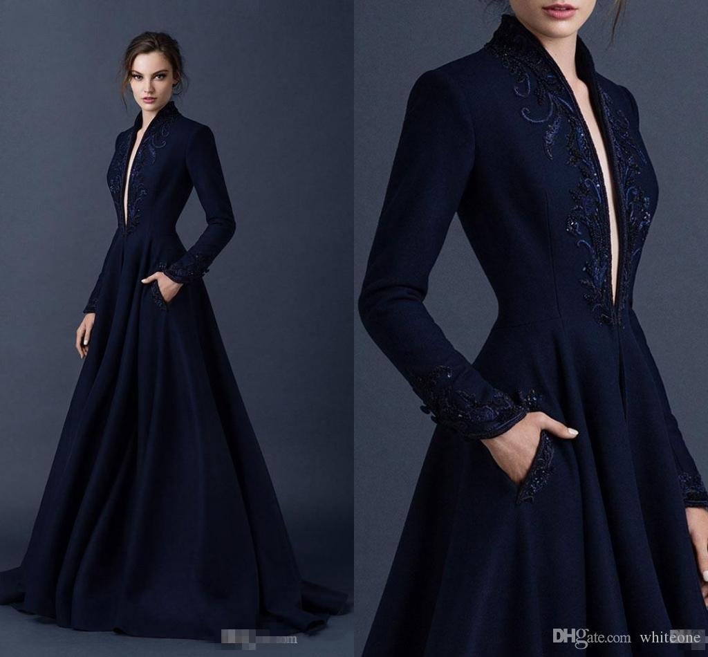 72858d28569 2017 Navy Blue Satin Formal Celebrity Evening Dresses With Pocket  Embroidery Paolo Sebastian Plunging V Neck Long Sleeves Prom Party Gowns  Elegant Evening ...
