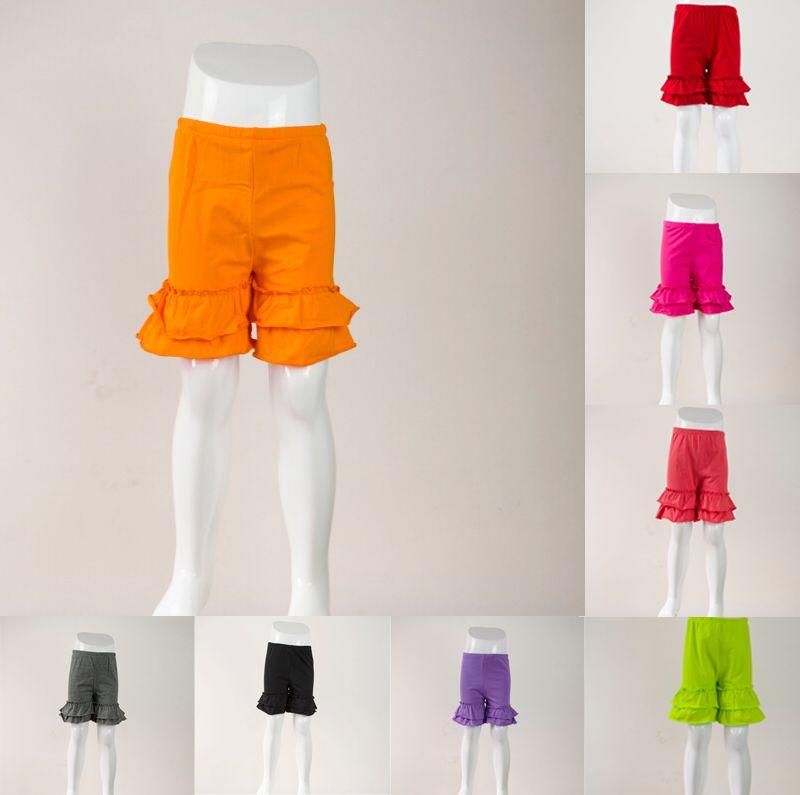 Wholesale Girl Hot Stripe Double Ruffle Shorts Kids Candy Color Shorts Comfortable Cotton Shorts