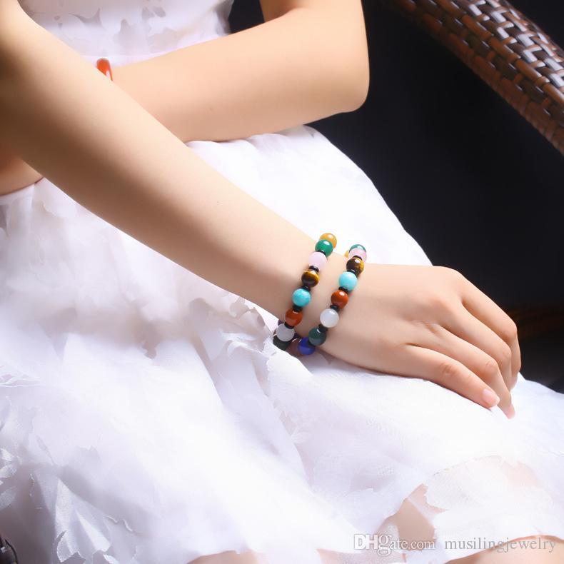 2017 New 10mm Maya Bead Bracciali Bangle gioielli le donne Accessori Charms Reiki Amulet Decorazioni regolabili Gioielli di moda