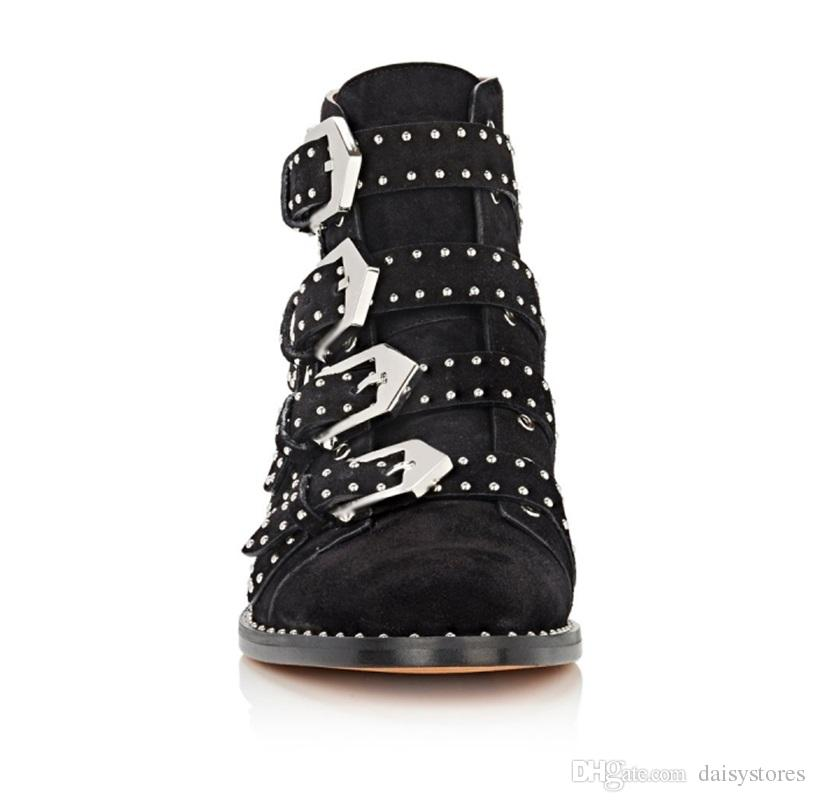 Hot Sale Metal Buckle Strap Lady Ankle Boots Studs Embellished Woman Motorcycle Boots Leather Suede Round Toe Flats Boots Shoes