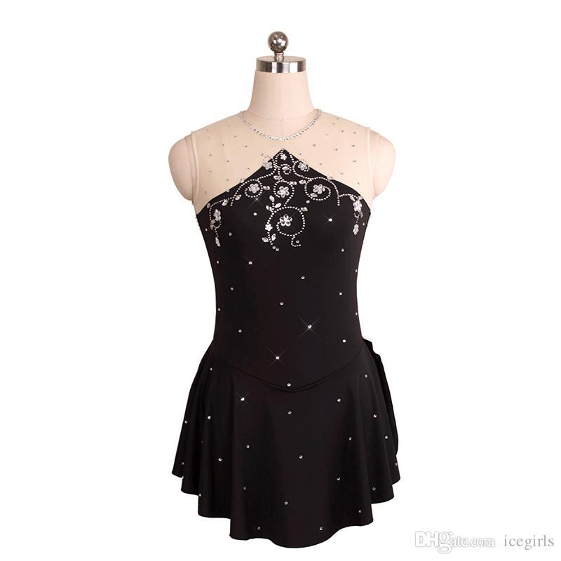 6691b85a6 Compre Vestido De Patinaje Azul Claro Negro Para Niños Con Adornos Joya  Cuello Sin Mangas Estilo Competencia De Hielo Vestido Espalda Abierta Envío  Gratis A ...