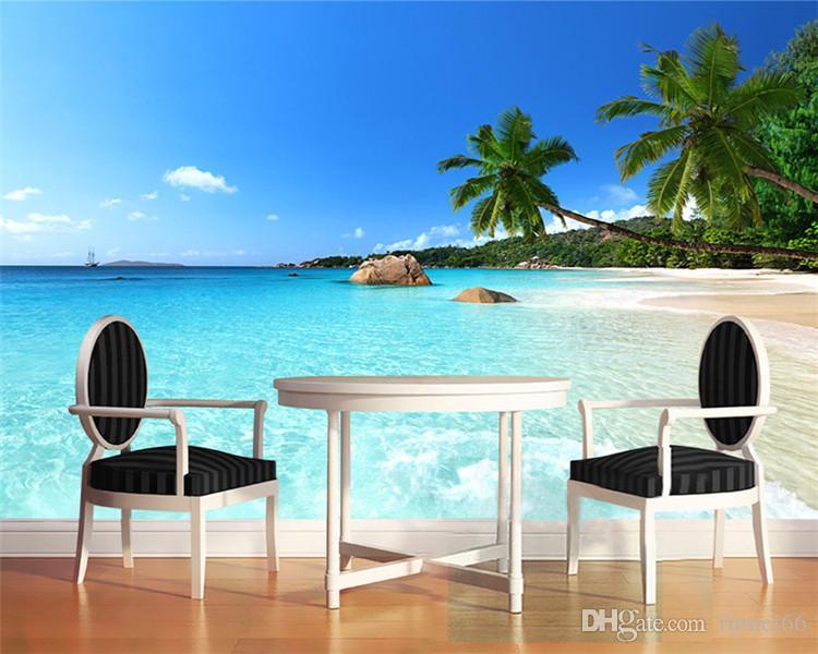 Custom 3D Photo Wallpaper Seascape Beach Palm revestimiento de paredes Rollo mural para la sala de estar Dormitorio de fondo Wallpaper De Parede