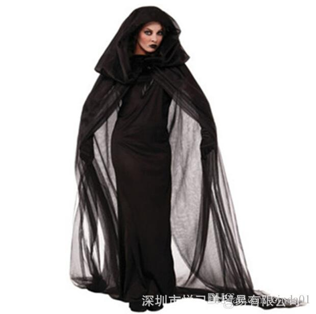 Women Witch Clothing Costume Black Dress Cloak Gloves Halloween Sets For Female Wear Cosplay
