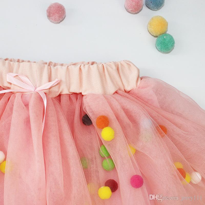 Pettiskirt Baby Tutu Skirt With Colorful Balls Princess Ribbon Tutus For Baby Girls Saia Tutu Fluffy Skirts 1-4Year LC463