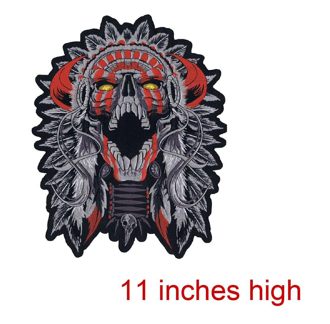 Evil Fashion Customise Embroidery Skull Motorcycle MC Patch Cool Sew On Full Back Size DIY