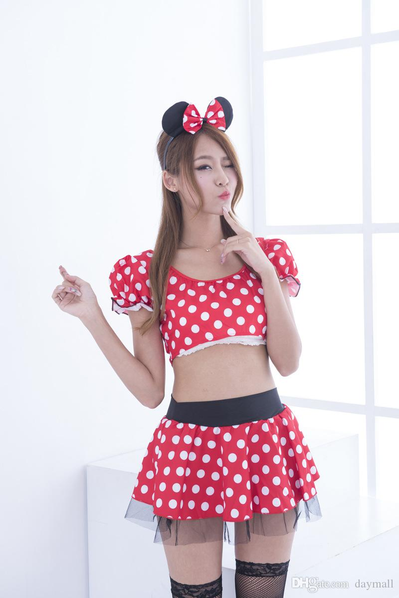 2017 Cosplay Costume Girls Cartoon Sexy Dress Lady's Princess Dresses Christmas Payty Dress With Bow Dot Halloween Costume,support drop ship