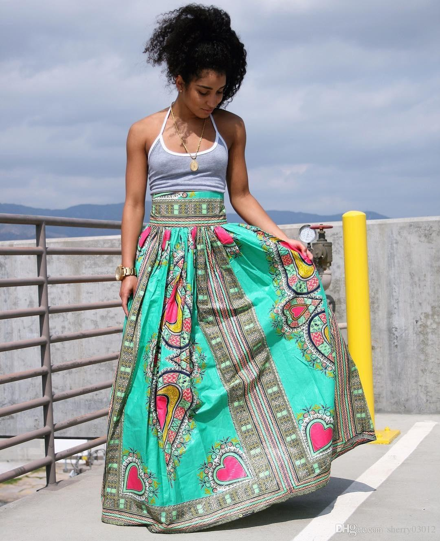 2017 Dear Lover Traditional African Woman Long Skirt 2017 Green ...