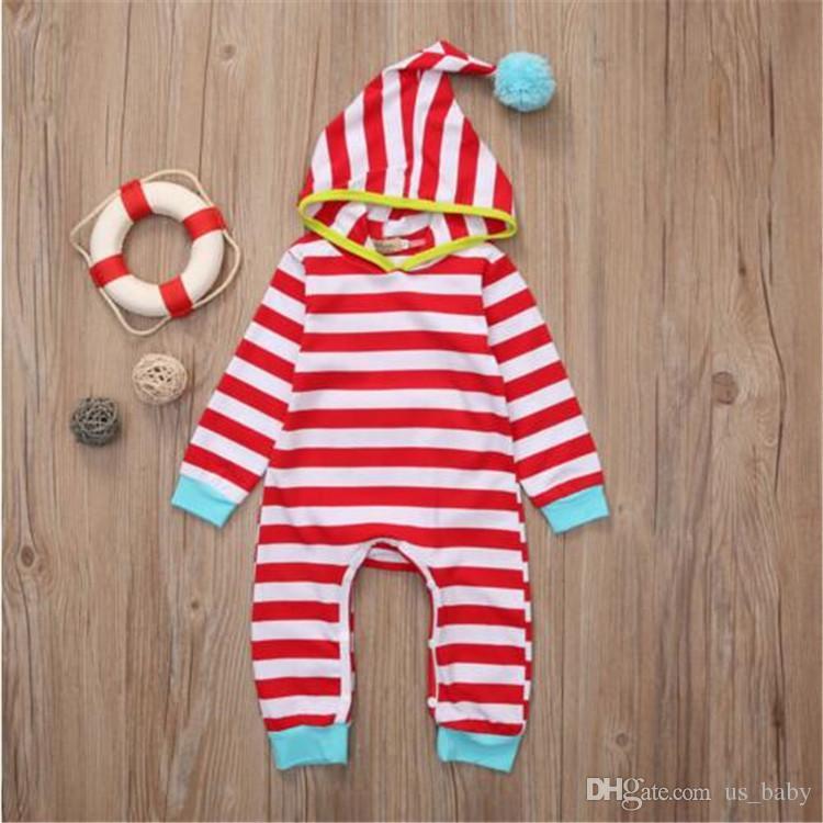 Neugeborenen gestreiften strampler baby jungen mädchen super niedlichen streifen kleidung kapuze spielanzug kinder kostüm overall kleidung