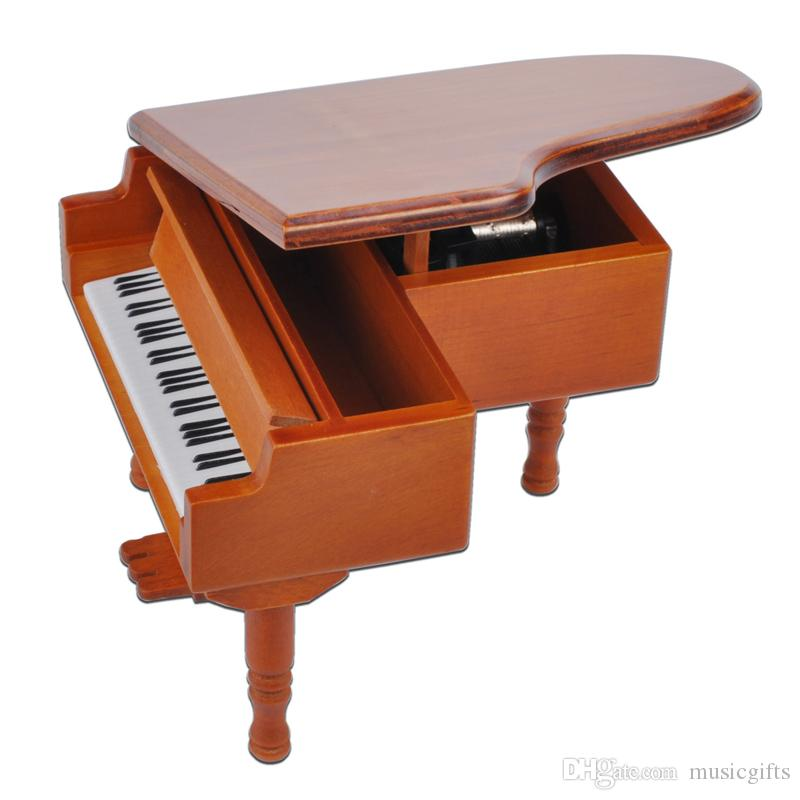 New Arrivals Wooden Piano Music Boxes Black Music Boxes with City of Sky Creative Gifts Brown