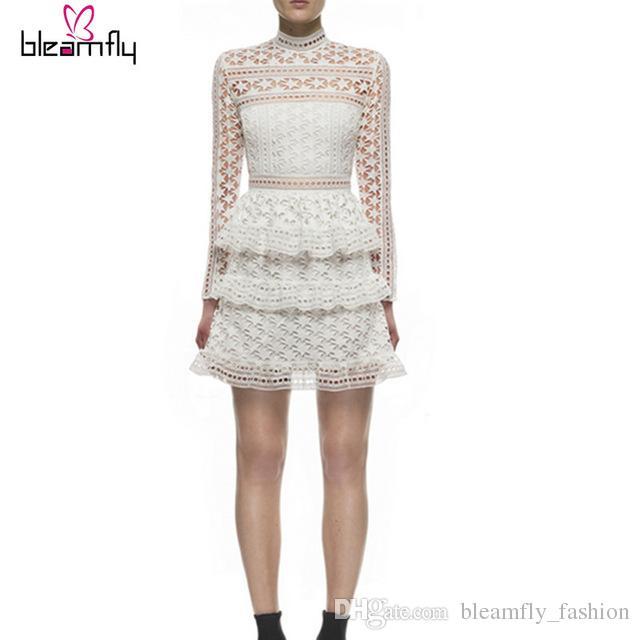 2159aa9fc633 Acquista Alta Qualità Bianco Self Portrait Dress Style 2017 Autunno Donna  Manica Lunga Abiti Celebrity Eleganti Abiti Da Damigella D onore A  59.7  Dal ...