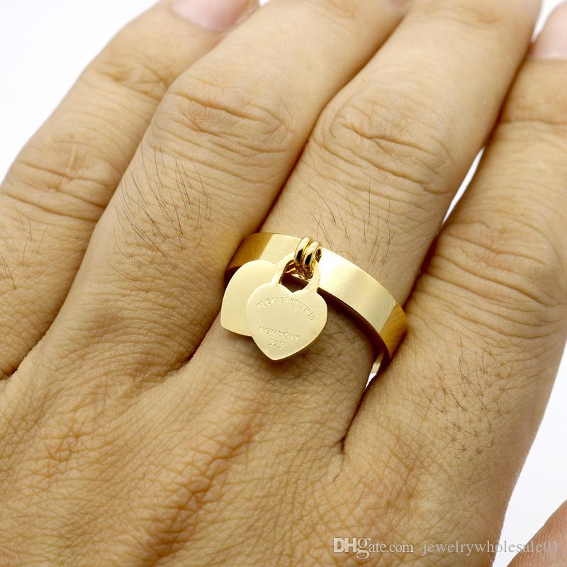 The big European and American 316L titanium ring T gold-plated heart letter brand double heart ring female ring