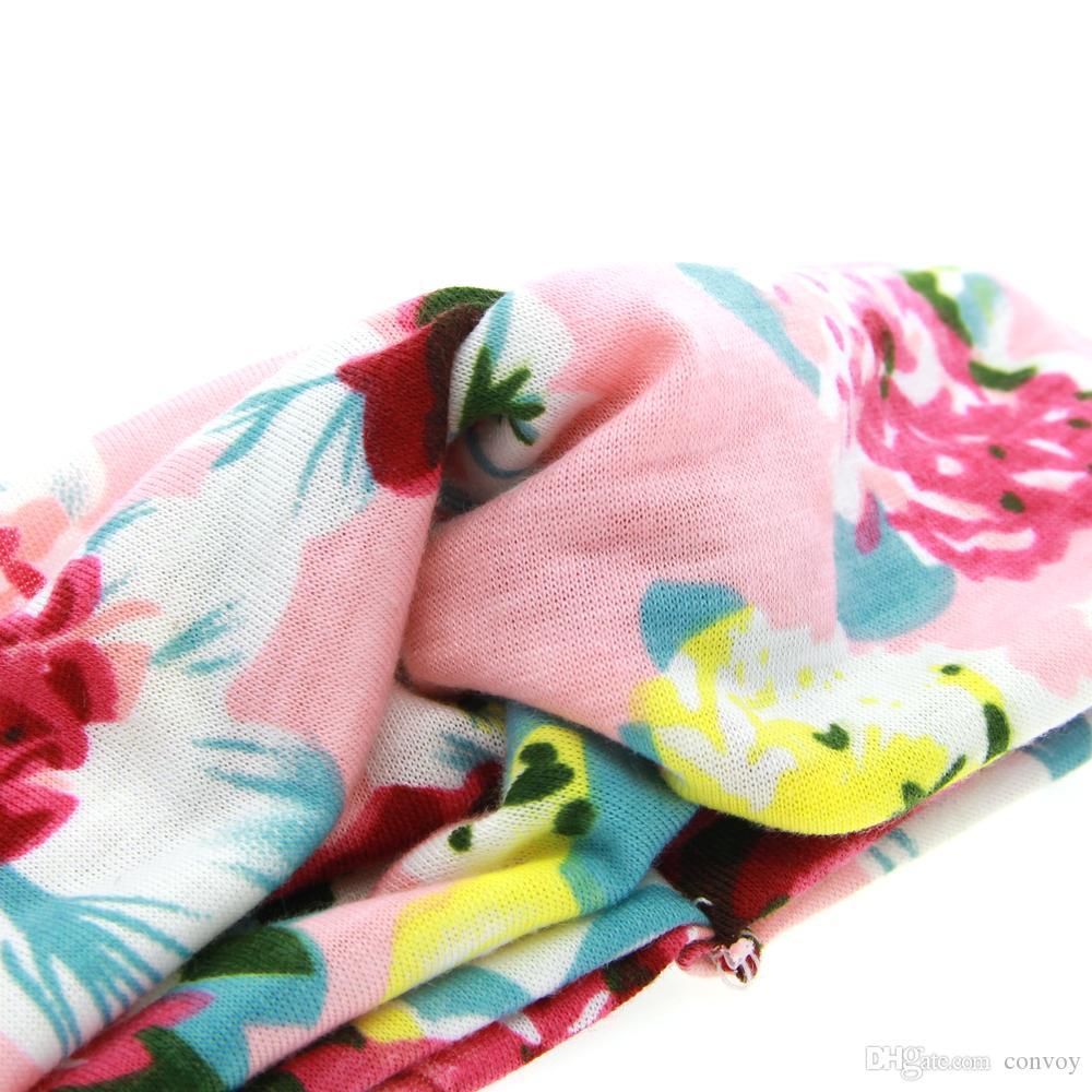 أحدث طفل الأزهار المطبوعة رباطات أطفال بنات عقدة هيرباند العمامة الأطفال لينة الصليب مرونة القطن أغطية الرأس اكسسوارات للشعر KHA276