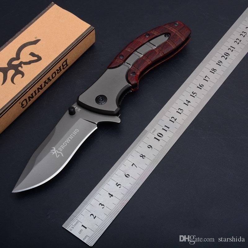 Browning X47 Titanium tático faca dobrável Flipper Outdoor Camping Caça Survival Pocket Knife Madeira manusear instrumentos Militar Utility EDC