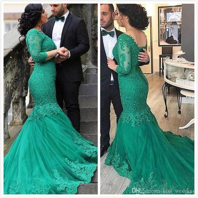 Exquisite Arabic Green Evening Dresses Mermaid Lace Long Sleeves