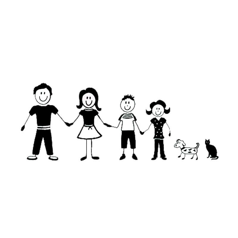 2018 17772cm Cartoon Stick Figure Family Car Stickers Personalized Vinyl Decals Covering The Body From Xymy767 131
