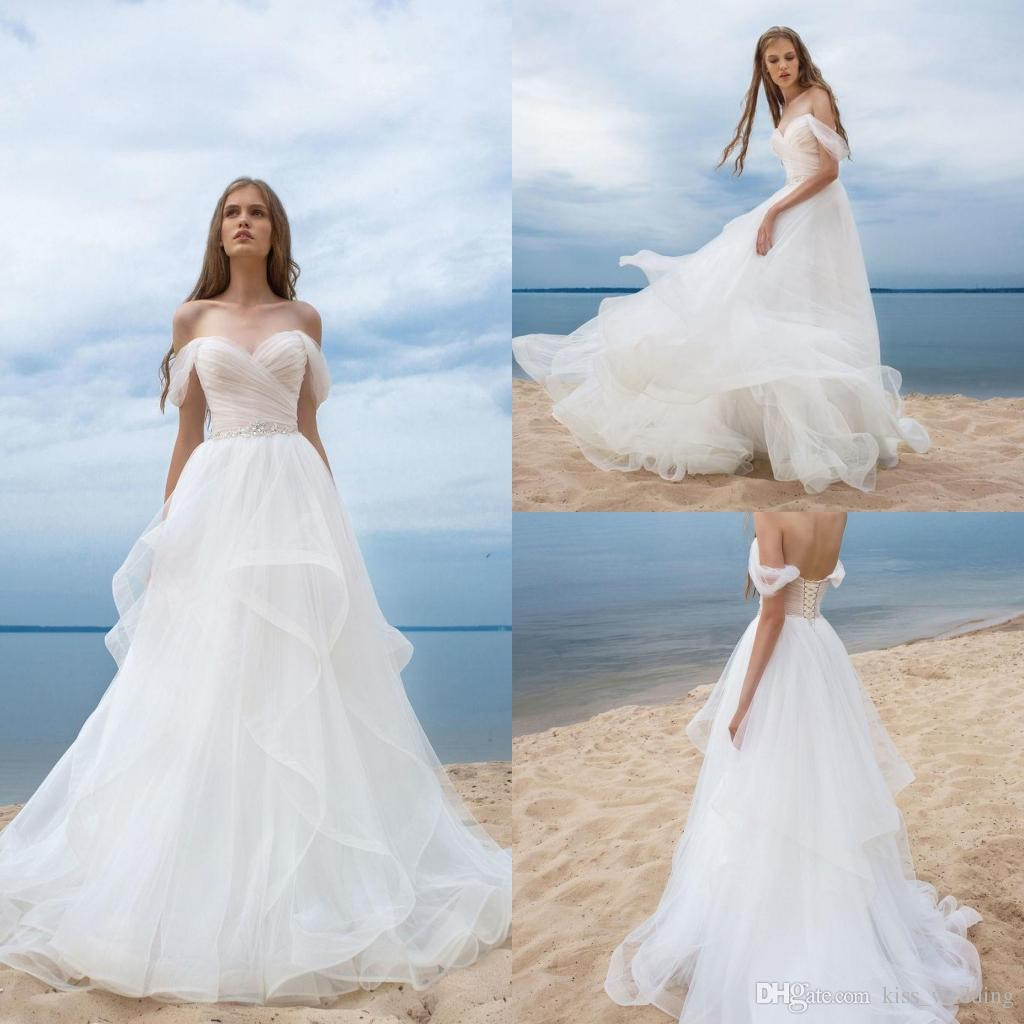 Discount Elegant Beach Wedding Dresses Boho Style Romantic Sheer ...