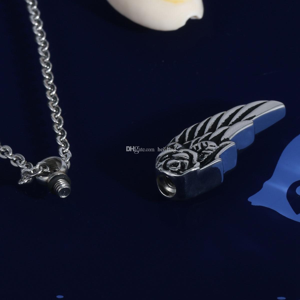Alas de ángel de acero inoxidable Flor Cremallera impermeable Collar de ceniza Joyería con bolsa de regalo y cadena