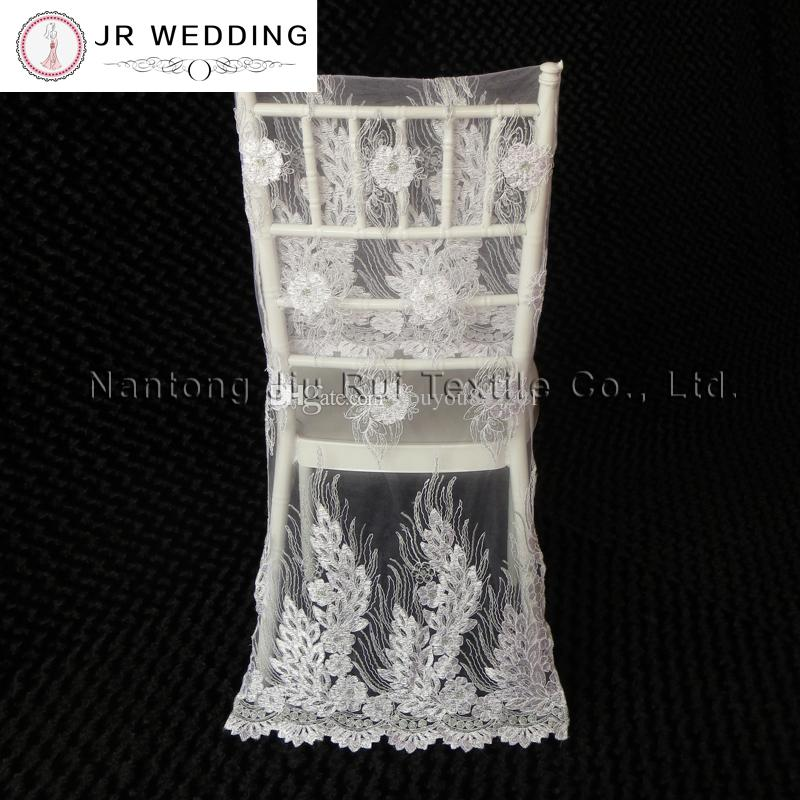Gold/White Embroidered Lace Chair Cover Sequin Shiny Lace Chair Cover For Top Chiavari Wedding Decoration
