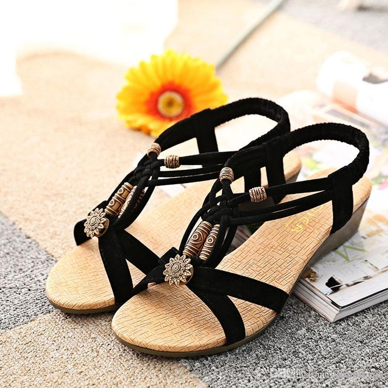cbf026bc24 Black Bohemia Beach Wedge Sandals Summer Retro Beaded Shoes Sandals Women  Girls Fashion Slippers Jack Rogers Sandals White Wedges From Chanelbags, ...