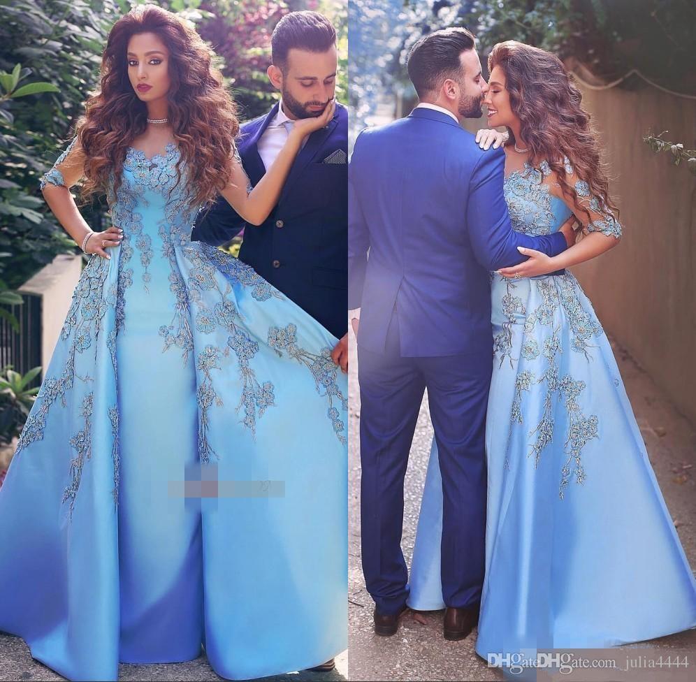 97439ab7f Compre 2017 Elegante Luz Cielo Azul Mujeres Formales Vestidos De Noche De  Encaje Apliques Medio Manga Larga Satinado Vestido De La Celebridad Árabe  Dubai ...
