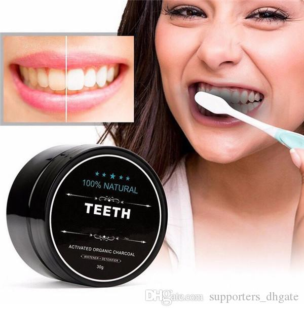 Denti uso alimentare Polvere di bambù dentifricio Cura orale Igiene Pulizia naturale attivato carbone di legna da cocco dente di guscio giallo macchia