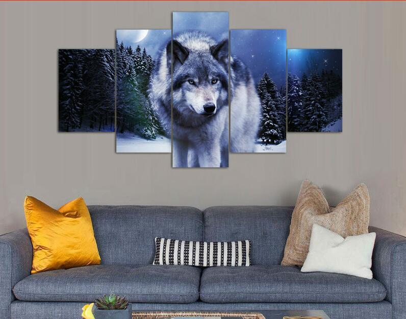 Imprimé Loup En Hiver Peinture De Groupe Par Numéros Décor De Chambre D'enfants Impression Affiche Photo Toile Affiche Sans Cadre 5 Pièces
