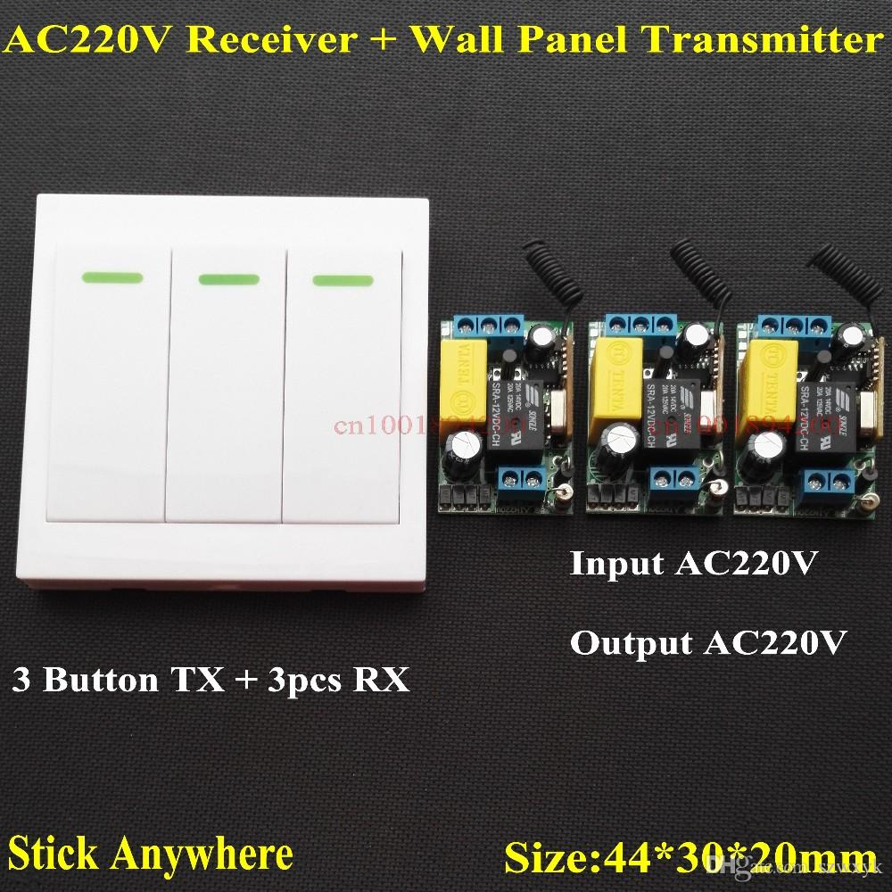 2018 Ac 220v 3 Way Channel Remote Control Switch + Wall Panel Wall ...