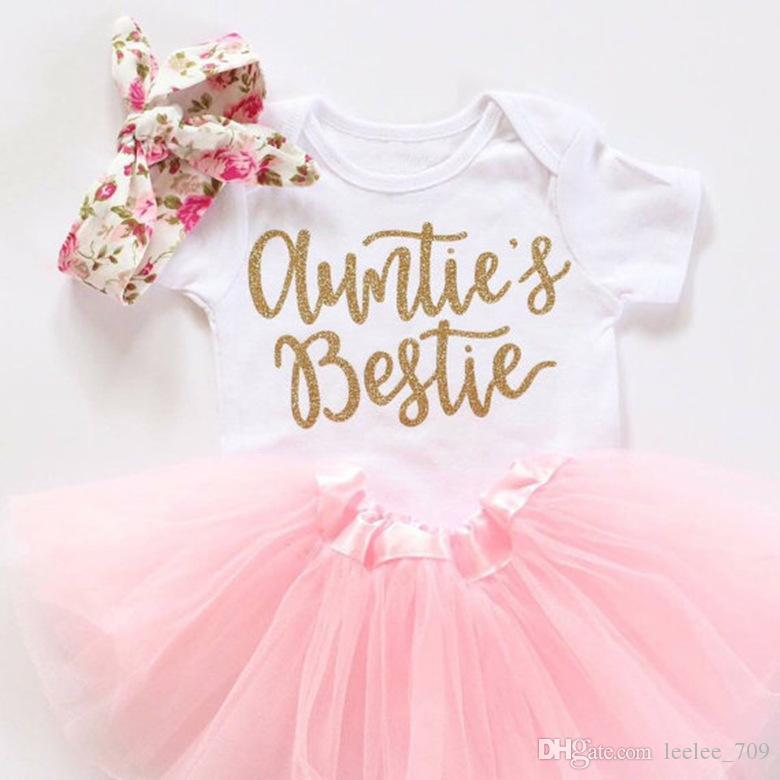 line Cheap Newborn Baby Girls Clothes Set Letter