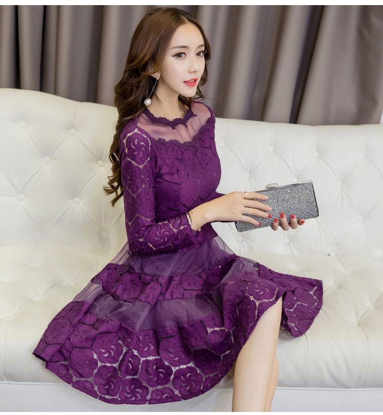 2017 Autumn Women Lace A Line Dresses Korean Fashion Sexy Ball Gown