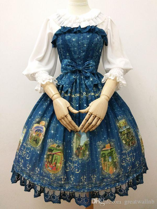 a014b72c5b48 100%real Luxury Galaxy Ruffled Sleeve Lace Printing Lolita Cosplay Short  Ball Gown Medieval Dress Renaissance Gown Belle Ball Online with  $123.43/Piece on ...