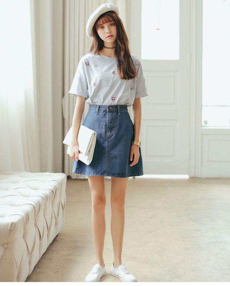 2017 Korean Aa Big Swing Retro High Waist Denim Skirt Skirt A A ...