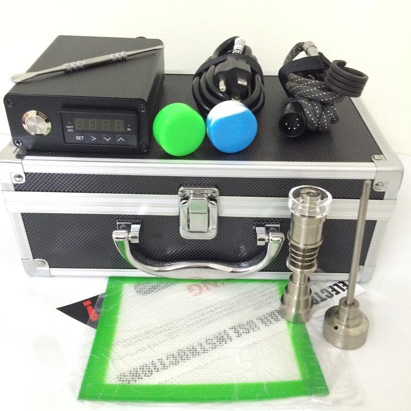 Portable E dab kit chiodo elettrico dab nail wax vape E quarzo chiodo titanio domeless PID regolatore di temperatura regolatore dabber box acqua vetro bong