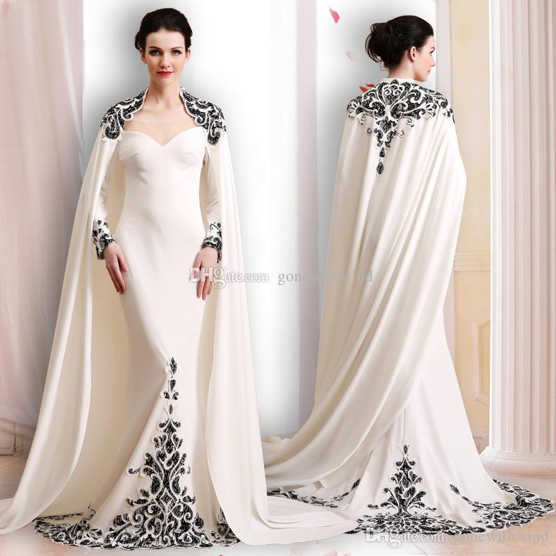 Elegant Silk Wrap Long Sleeves Evening Dresses 2018 Lace Appliques ...
